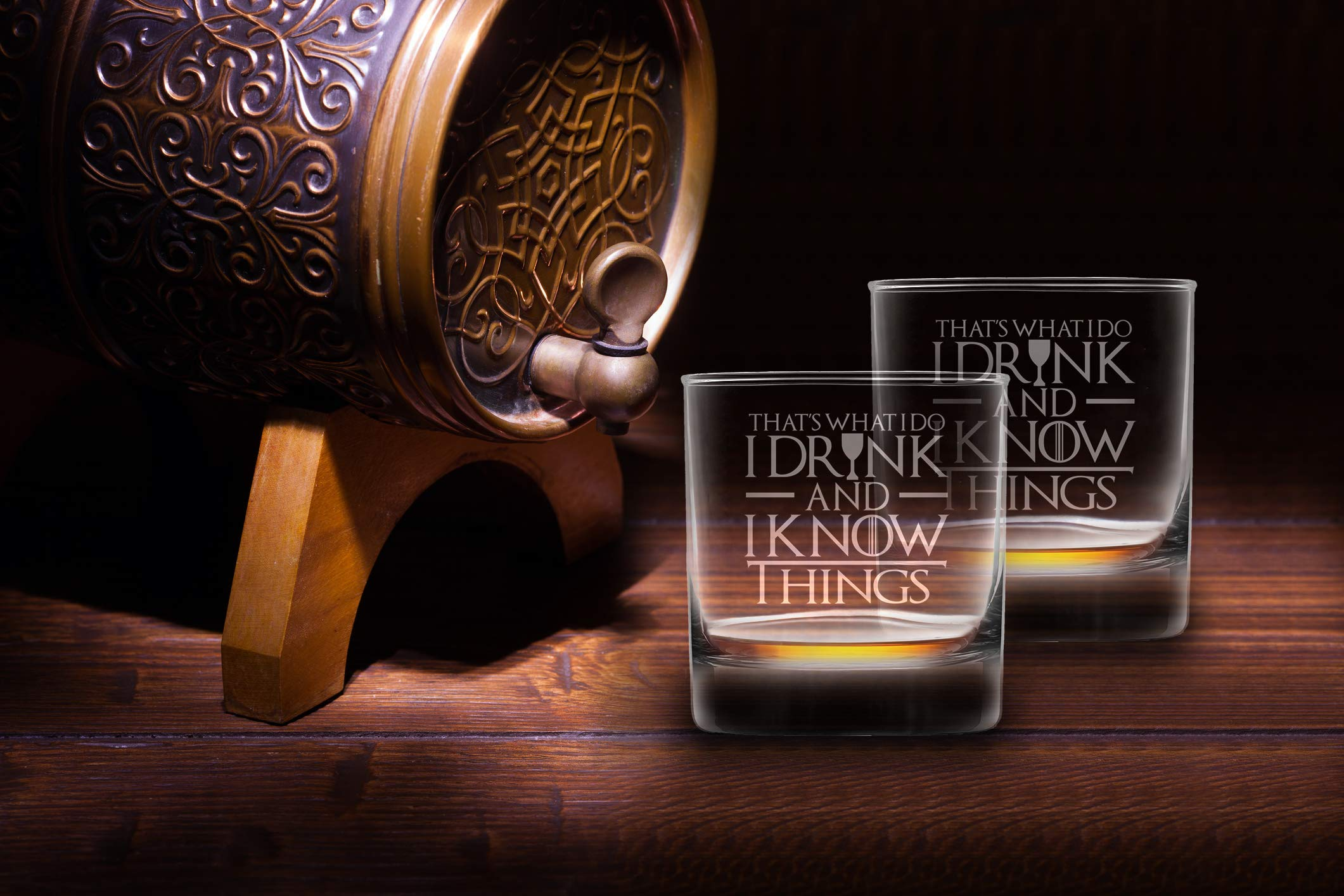 I Drink And I Know Things Highball Whiskey Glasses - Set of 2 - by FOLE (Image #3)