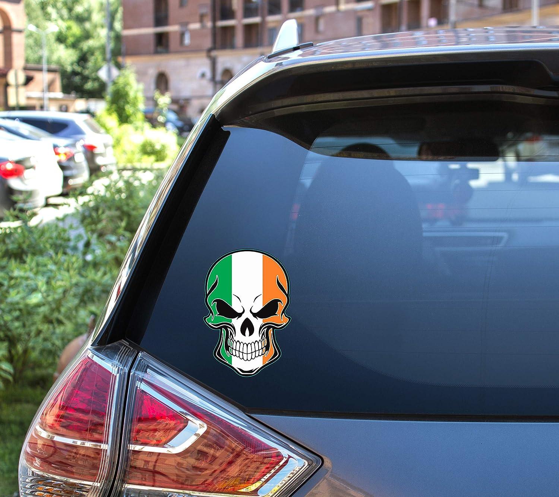 Ireland Bumper Sticker Proud Irish Gift WickedGoodz Irish Flag Skull Vinyl Decal
