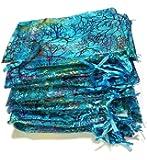 Giveet 100 Pezzi Coralline Blue Organza Sacchetti Regalo, Sacca con Cordino Sacchetti di Gioielli, Caramelle Sacchetto di Cioccolato della Festa di Nozze Favor Gift Bag