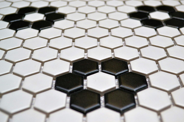 1 White /& Black Hexagon Tile Flower Pattern