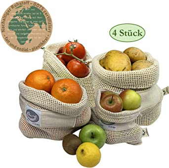 Larovita - Bolsa para el pan o la fruta (100% algodón orgánico, 4 unidades): Amazon.es: Ropa y accesorios