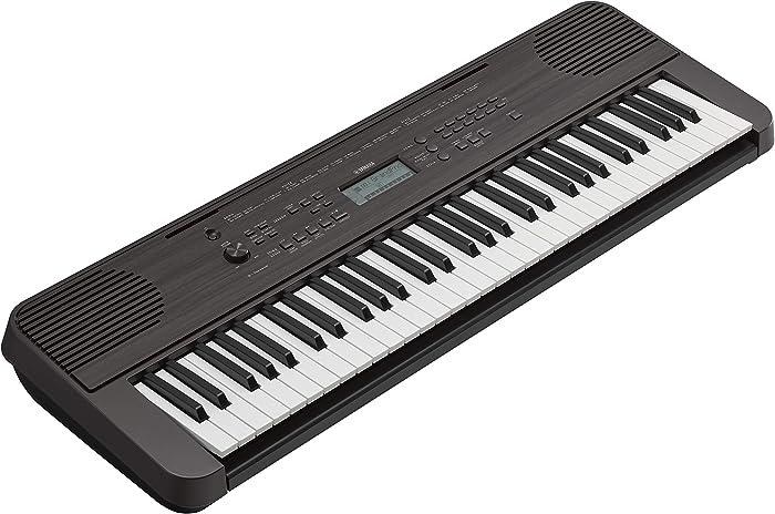 Yamaha PSRE360 61-Key Touch Sensitive Portable Keyboard with Power Supply, Dark Walnut