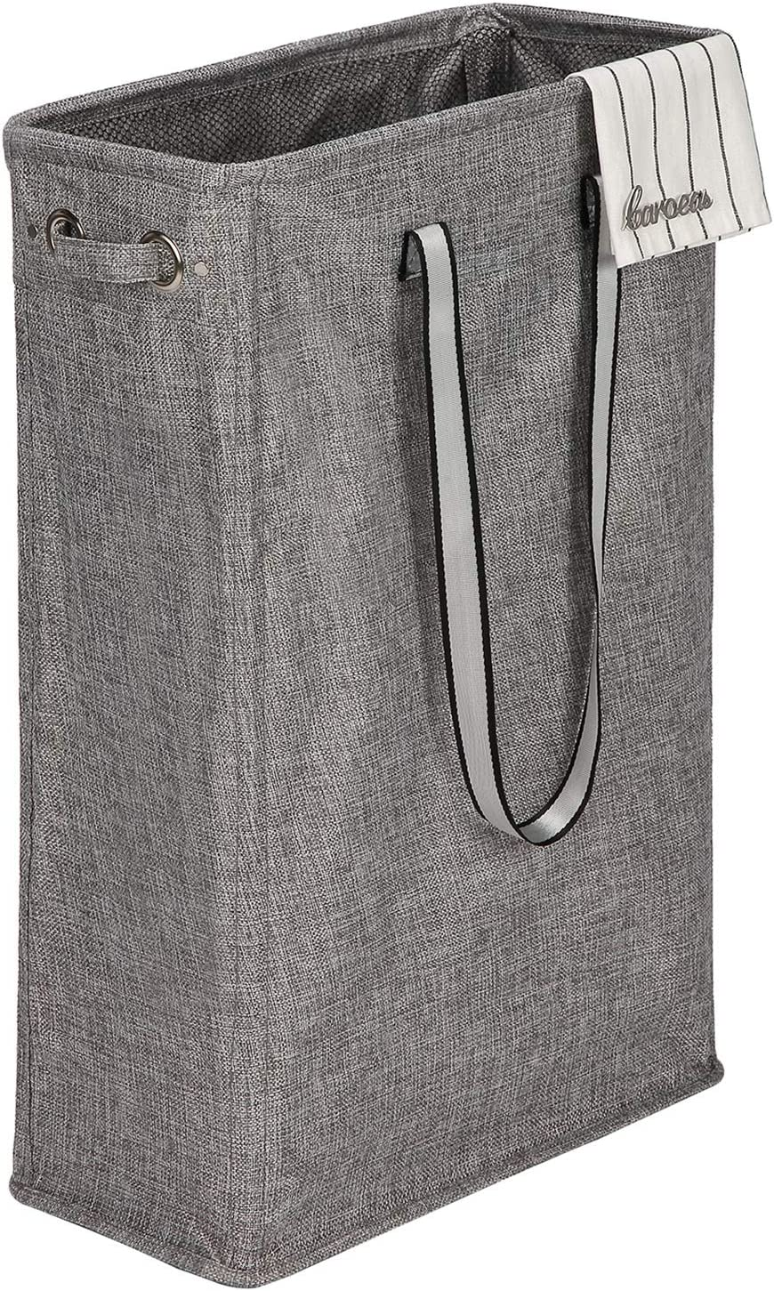 """Caroeas Handy Hanging Laundry Basket, 24"""" Tall& Slim Laundry Hamper Collapsible Travel Laundry Bag Waterproof with Breathable Mesh Cover & Silver Handle(Updraded Linen Fabric)"""