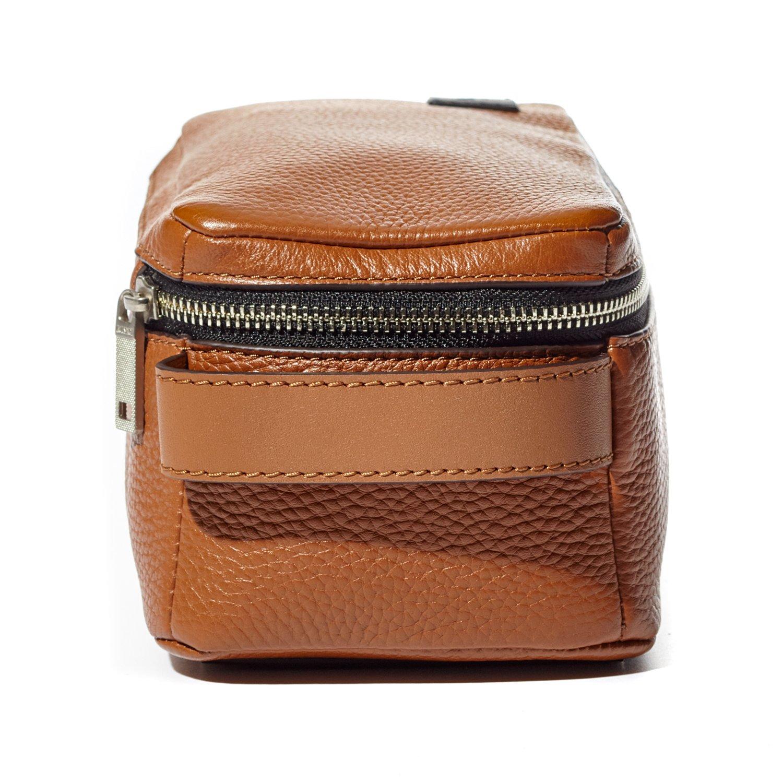 Jack Spade Pebble Leather Travel Kit Toiletry Bag - Tan