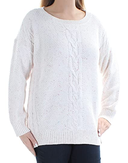 3d11f489 Tommy Hilfiger Womens Mara Cable-Knit Sweater (Large, Beige) at Amazon Women's  Clothing store: