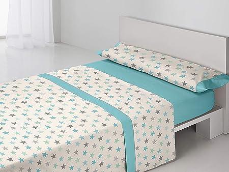 BAILARINA- Juego sábanas Valeria. 3 Piezas Cama de 135 cm: Bajera (135x190/200 cm) + Encimera (210x270 cm) + Funda Almohada (45x155 cm) 50% Algodón - 50% Poliéster de 144 Hilos. Color Azul: Amazon.es: Hogar