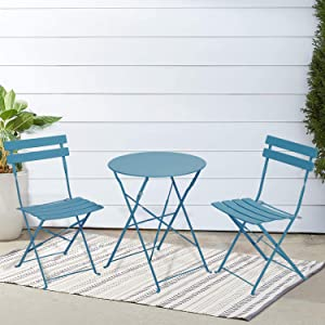 INOVIX Blue Grand Premium Steel Bistro, Folding Outdoor Furniture, 3 Piece Set of Foldable Patio Table and Chair