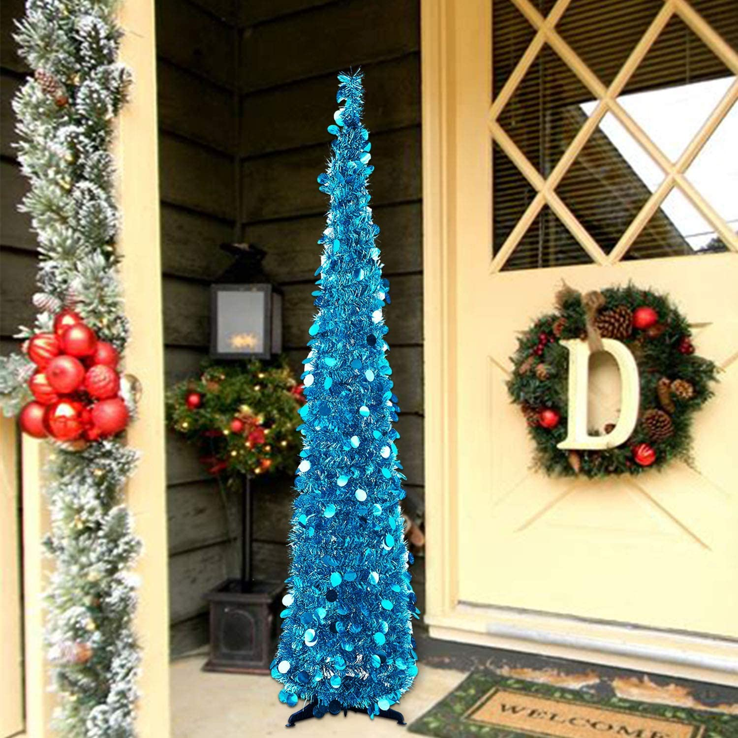 MACTING 6ft Pop up Christmas Tinsel Tree with Stand Easy-Assembly Tinsel Coastal Glittery Christmas Tree for Holiday Xmas Decorations 6FT Blue