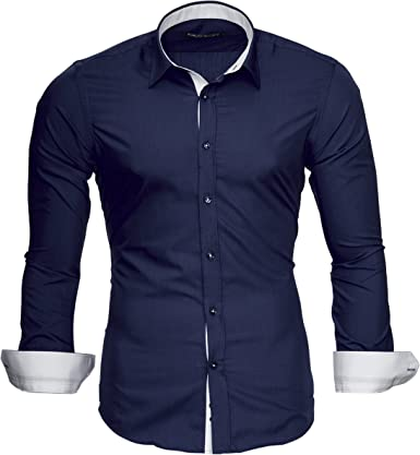 MERISH Camisas de Vestir Business Manga Larga Slim Fit Clásico Colores Contrastantes, Modell 202 Azul Oscuro XL: Amazon.es: Ropa y accesorios