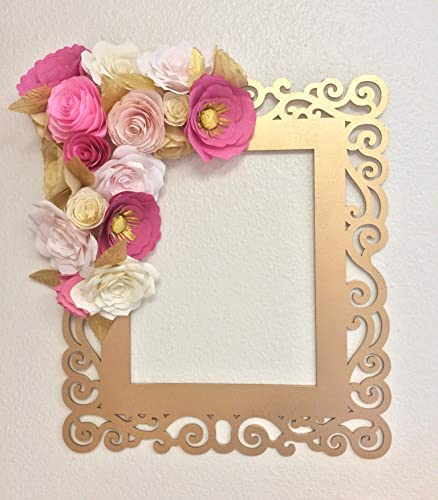 Amazon coral and gold paper flower wall frame handmade coral and gold paper flower wall frame mightylinksfo