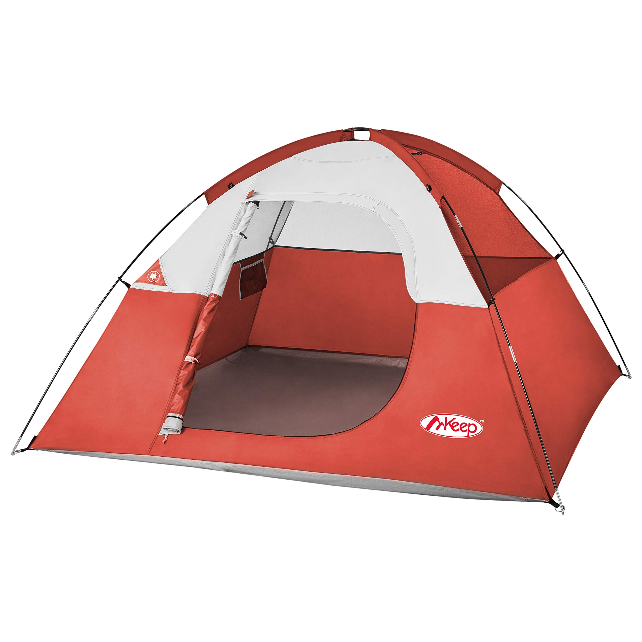 TOMOUNT 3 Person Tent - Easy & Quick Setup Camping Tent, Professional Waterproof & Windproof Fabric, 3 Large Mesh for Ventilation, Double Layer, Anti-UV, Lightweight & Portable with Carry Bag (3-red) by TOMOUNT