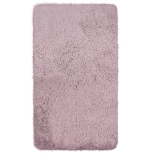 Jean Pierre Faux-Fur Area Rug, 3 x 5 , Dusty Lilac