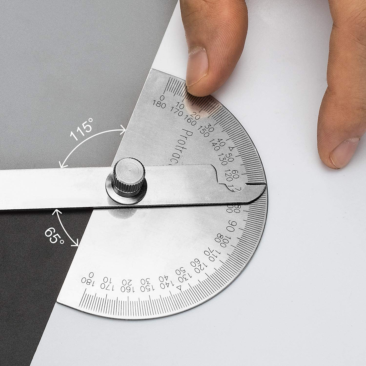Adjustable Angle Finder with Arm Ruler OIIKI Round Head Angle Protractor Craftsman 0-180/° Stainless Steel Angle Protractor Measuring Tool for Woodworking