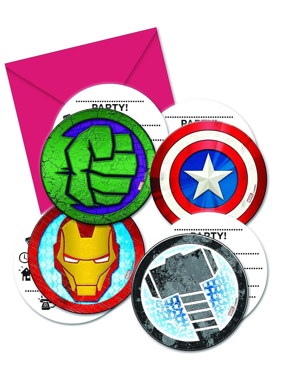 COOLMP - Juego de 6 Invitaciones + Sobres de Avengers Mighty ...