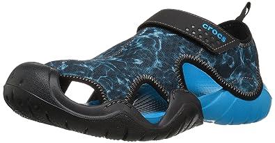 Crocs Men's Swiftwater Graphic M Fisherman Sandal, Ocean/Black, ...