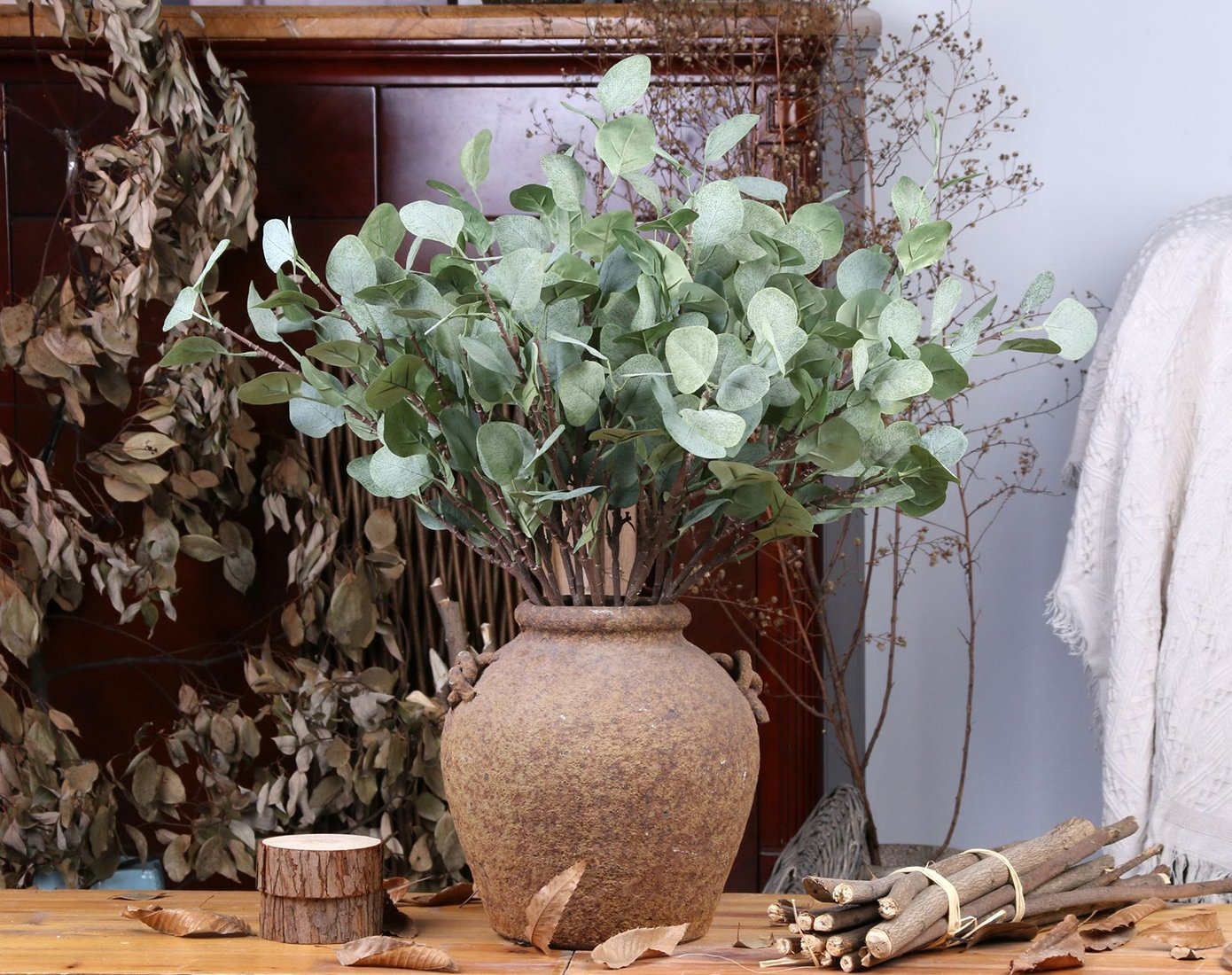 2PCS Bird Fiy 26 Artificial Eucalyptus Greenery Leaf Fake Eucalyptus Sprays Leave for Wedding Party Home Decor