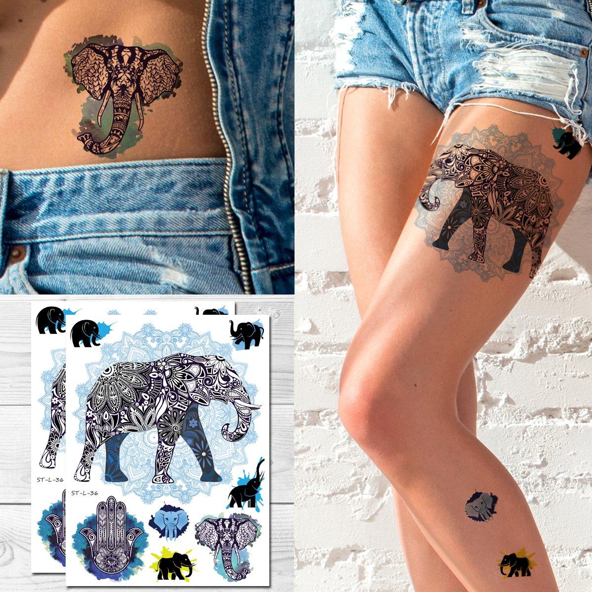 Amazon.com: supperb Tatuajes Temporales – elefante Mandala ...