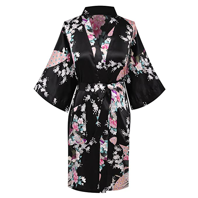 e4c45588bc Image Unavailable. Image not available for. Color  FADSHOW Women s Floral  Print Satin Robes Short Bridesmaids Robes Silk Bathrobes Bride Nightwear  Dressing ...