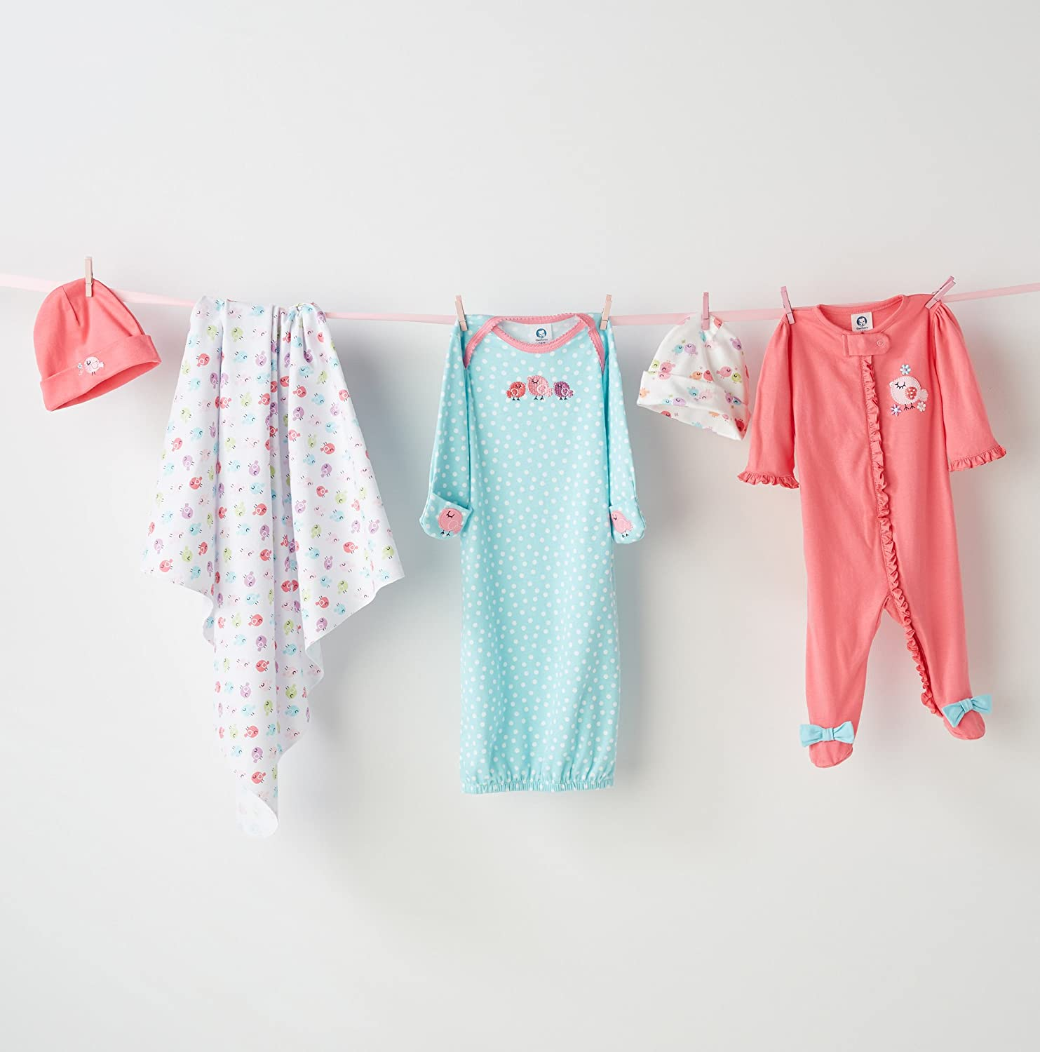 Amazon.com: Gerber Baby Girls\' 2 Pack Gown, Birdie, 0-6 Months: Clothing
