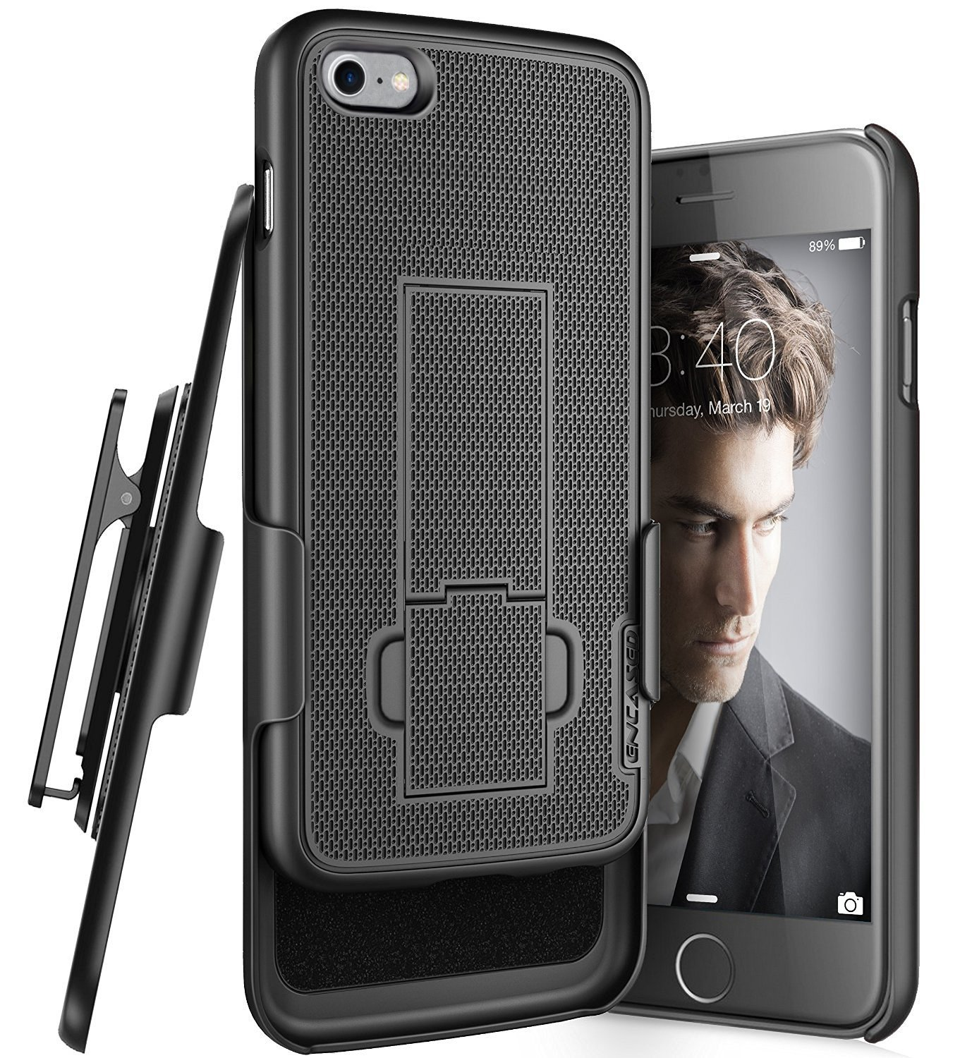 iPhone 7 Belt Clip Case, Encased (Ultra Thin) Secure-fit Cover w/ClikLock Holster (Black)