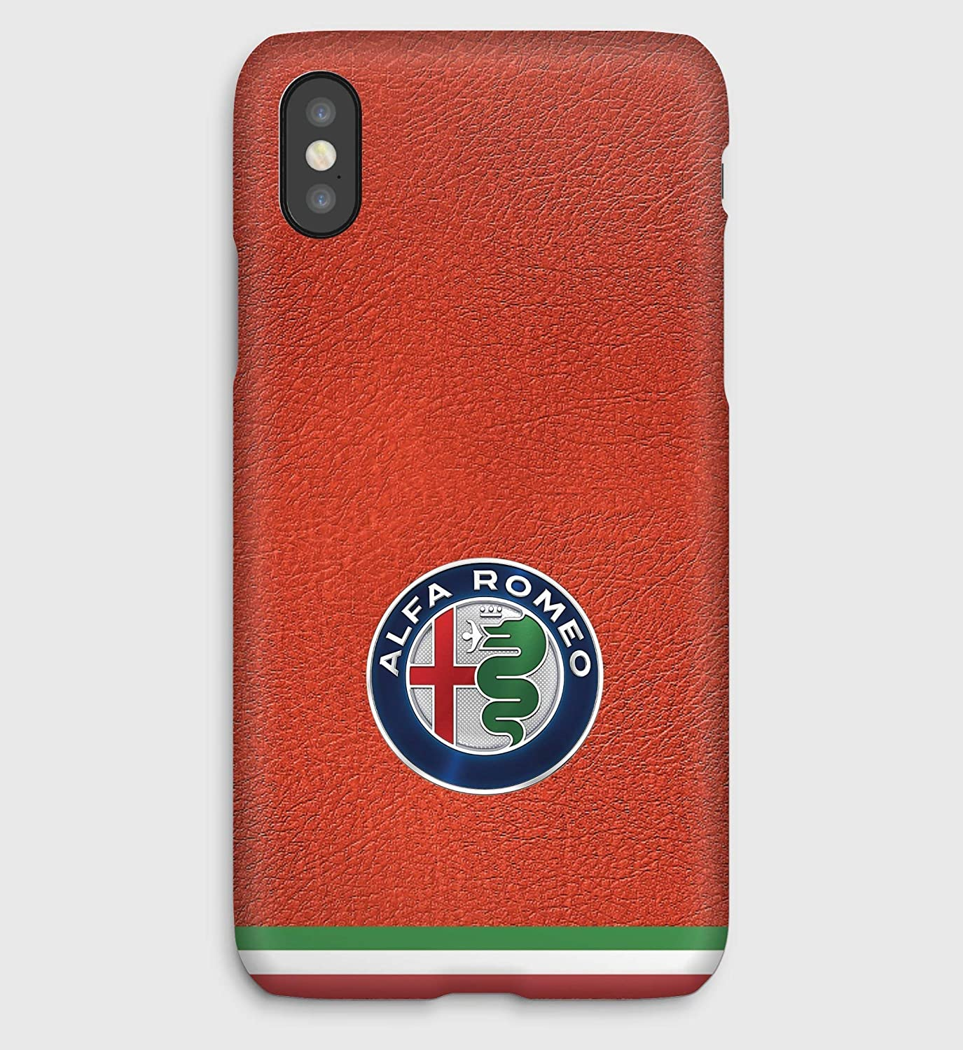 Leather & Alfa Romeo Cover iPhone X,XS,XS Max,XR, 8, 8+, 7, 7+, 6S, 6, 6S+, 6+, 5C, 5, 5S, 5SE, 4S, 4,