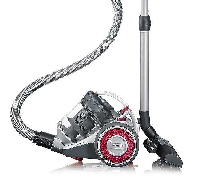 Severin MY 7105, Aspiradora multiciclónica de suelo sin bolsa, incluye cabezal para parquet y set de 3 accesorios, SŽPOWER non stop, argent y rojo: ...