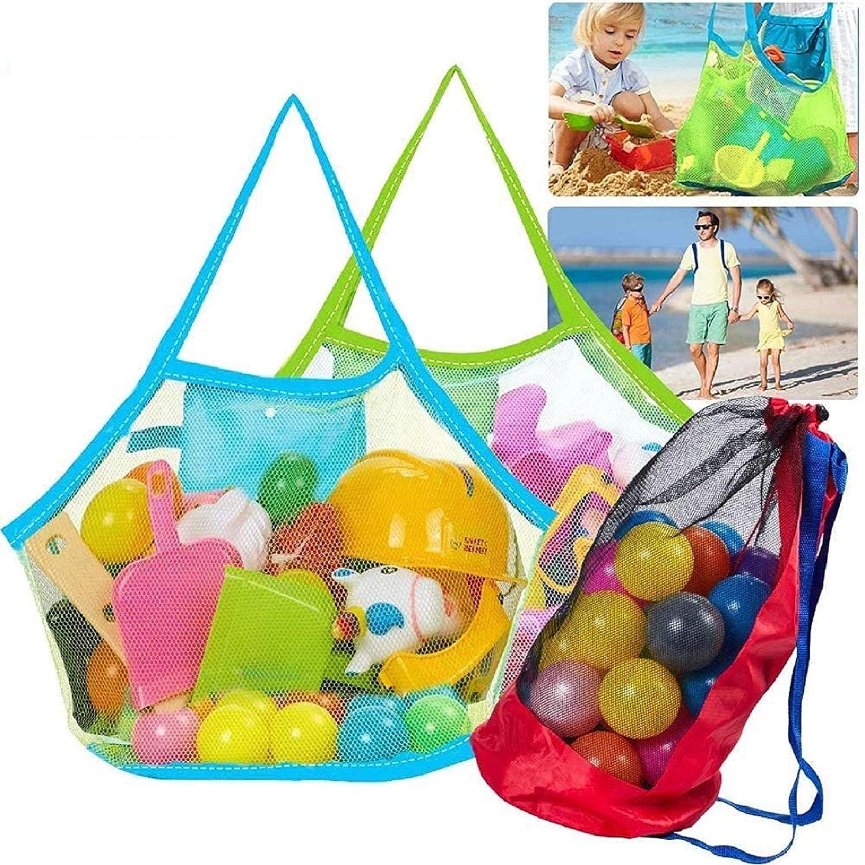 Tacobear Bolsa Grande de Malla para Juguetes de Playa Mochila de Plegable Mesh Beach Bag Bolsa de Almacenaje Organizer Bag para Juguete Niños (2 Bolsa&1 Mochila)