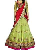 Aracruz Women's Party Wear New Year Collection Special Sale Offer Bollywood Light Green Georgette Heavy Bridal Wedding Lehenga | Chaniya Ghagra Choli