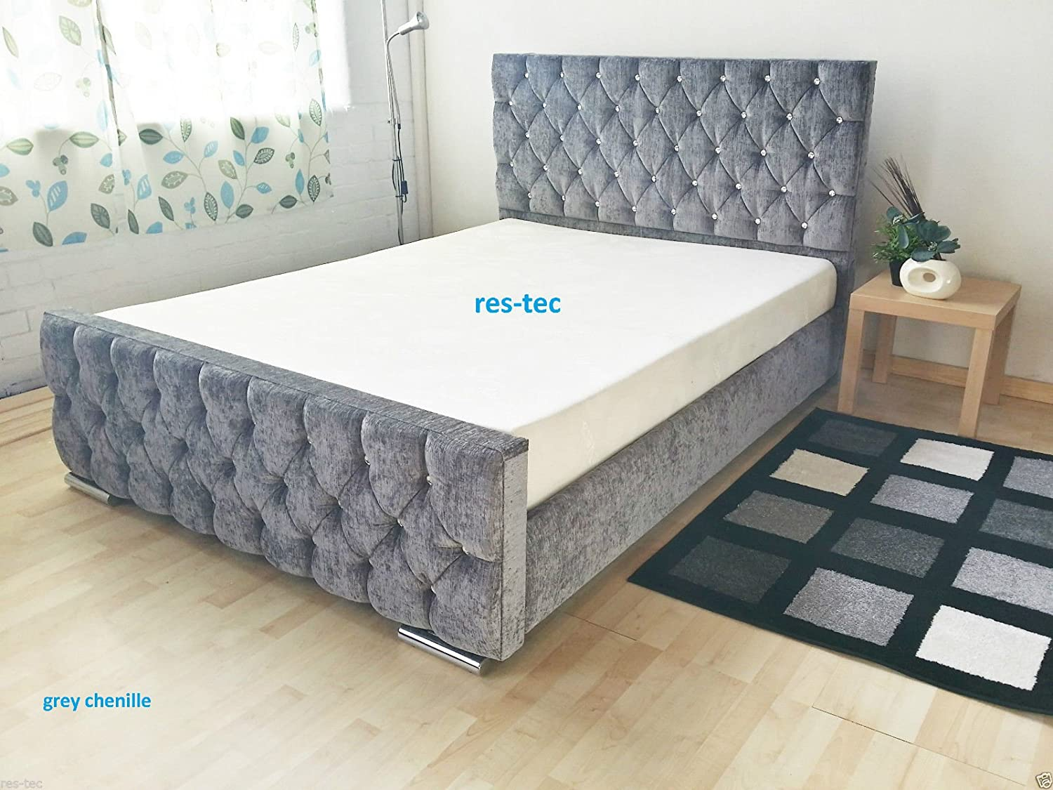 frame bed grey products carmen fabric fb shot sofamania box gr com classic front tufted dark in