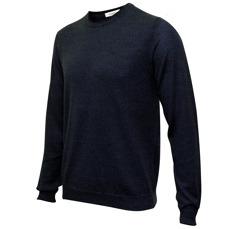 Pullover girocollo lana blu Calvin Klein