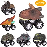 TWFRIC Dinosaur Toys Car, Pull Back Dinosaur Toy Car, 6-Pack Vehicle Model Dinosaur Truck Toys Cars with Big Tire Wheel, Educational Toy for Kids Boys Girls