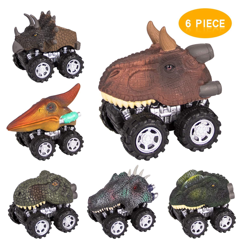 TWFRIC Zurückziehen Dinosaurier Autos-6 Pcs Fahrzeug Modell Dinosaurier Auto Spielzeug Zurückziehen Autos- Pädagogisches Spielzeug Für Kinder