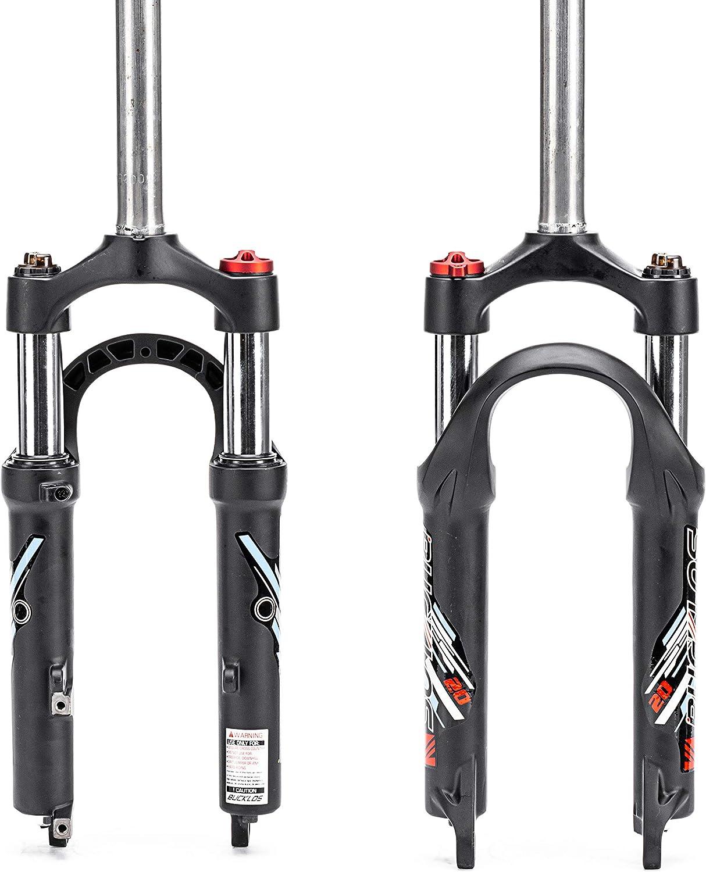 BUCKLOS 20 inch Coil Folding Bike Suspension Fork Travel 50mm 28.6mm Threadless Straight Tube QR 9mm Crown Lockout Disc Brake Front Forks