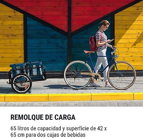 Desmontable Estructura de acero 65 litros Remolque de bicicleta Plegable Klarfit OX 2 cajas de bebidas Resiste 40 kg de carga Negro Reflectores blanco y rojo Superficie de 42 x 65 cm