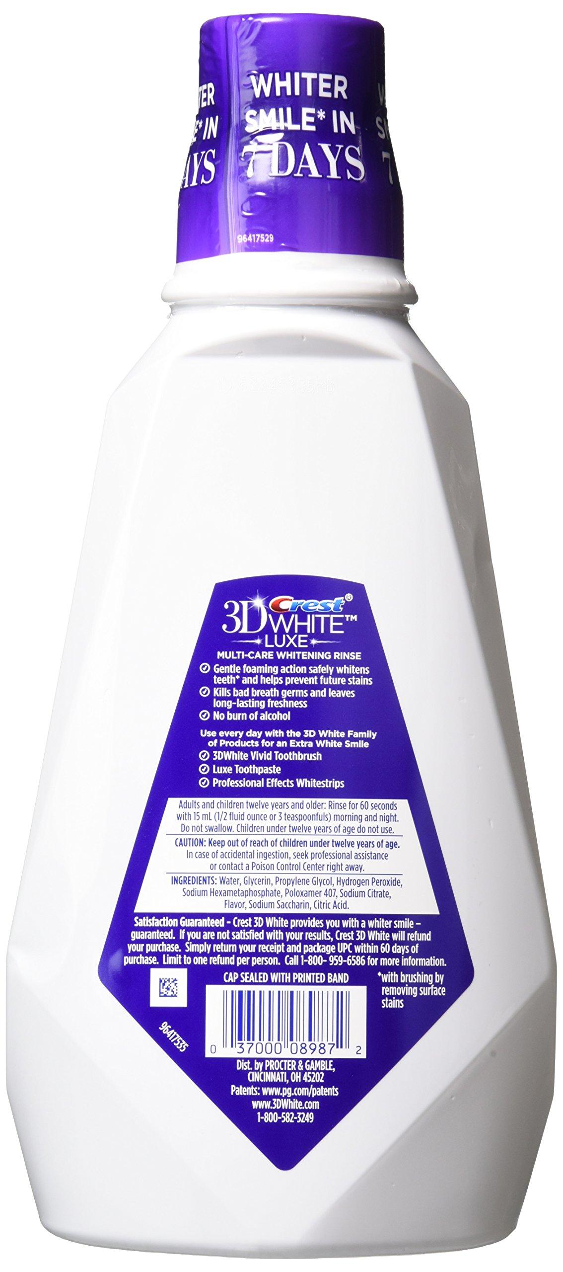 Crest 3D White Multi-Care Whitening Rinse, Glamorous White, Fresh Mint-32 oz, 946 milliter