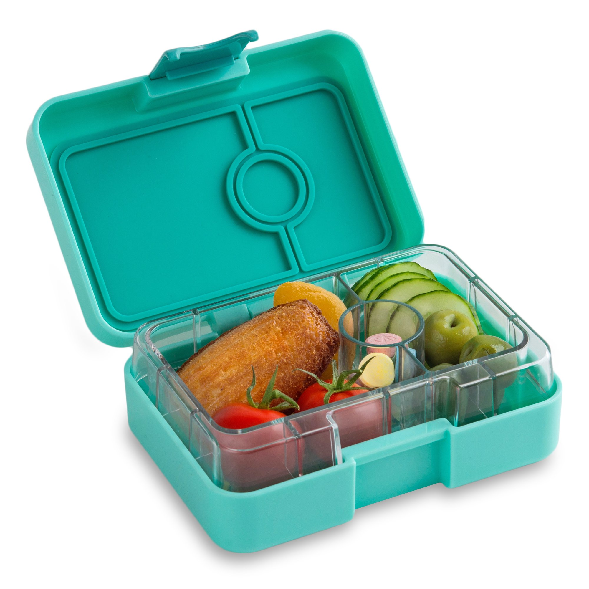 YUMBOX MiniSnack Leakproof Snack Box (Surf Green), mini, minisnack, leakproof, reusable meals, healthy eating, healthy snacks, kids lunch daycare, snack box, bento, bento box, divided container port by Yumbox