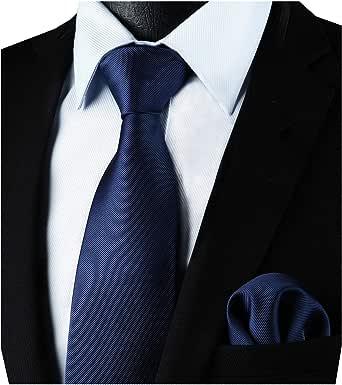 Enlision Corbata cuadrada de color azul marino y corbata de ...