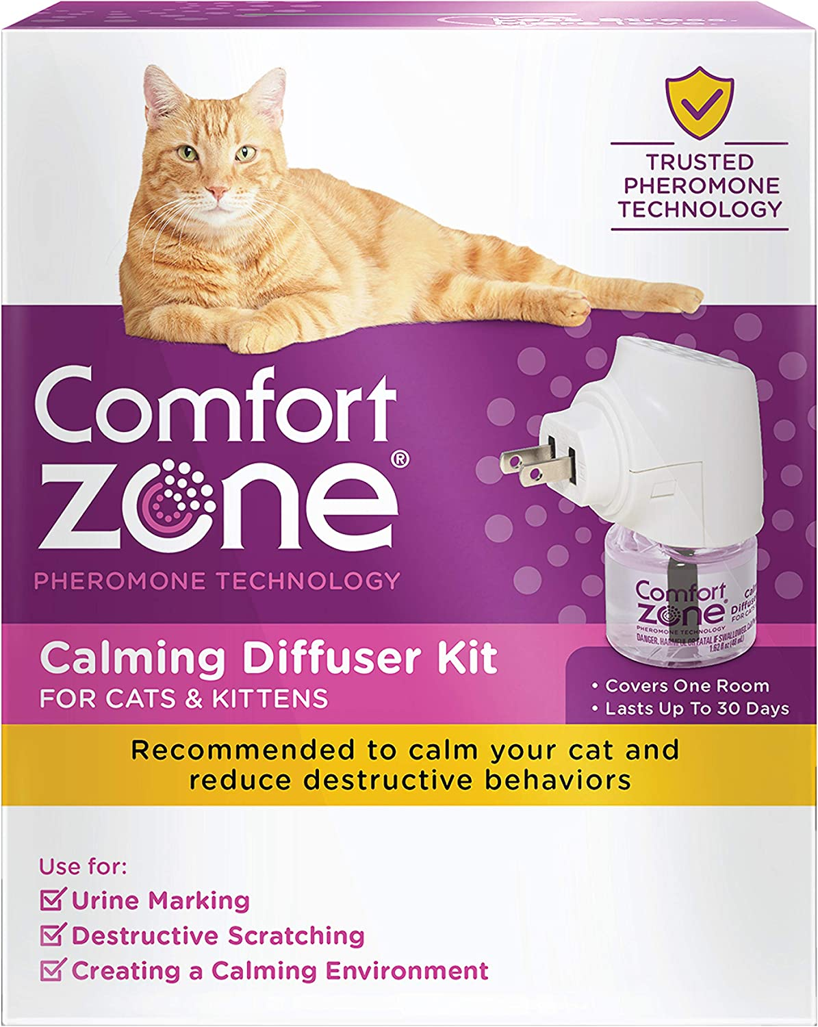 Comfort Zone 2X More Pheromones Formula Calming Diffuser Kit for Cat Calming | Multi Cat & Calming Formulas | Single Diffuser Kit, 1 Diffuser, 1 Refill