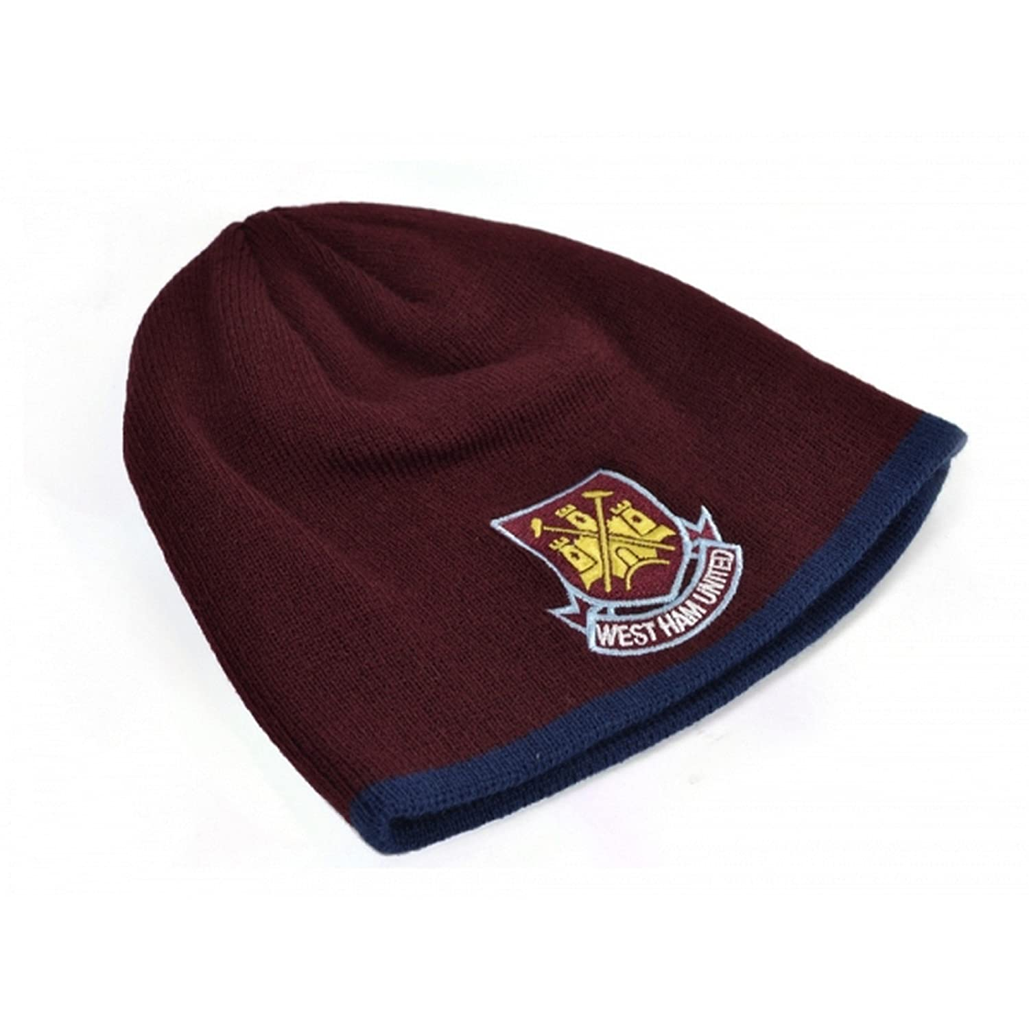 West Ham FC Official Childrens/Kids Football Classic Crest Knitted Beanie Hat UTBS411_1