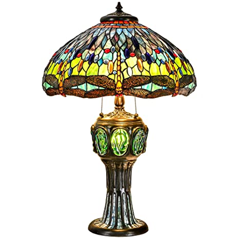 Cloud Mountain Tiffany Style Table Lamp Brass Base Victorian