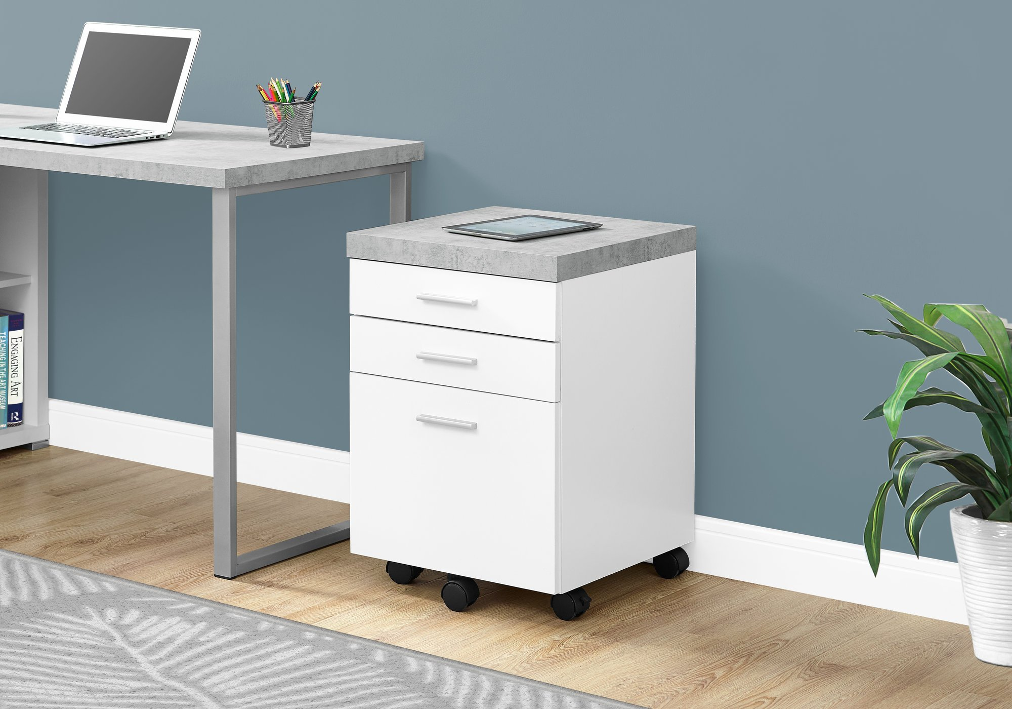 Monarch Specialties 3 Drawer File Cabinet - Filing Cabinet (White)