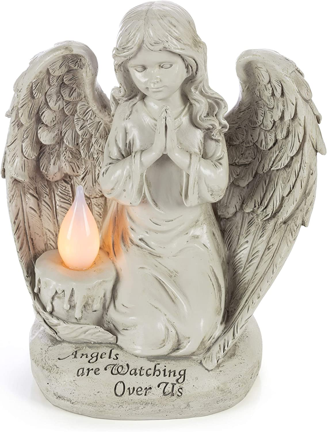 Praying Angel Watching Over Us Solar Powered LED Outdoor Decor Garden Light