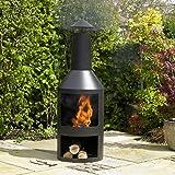 Kingfisher FPIT3 Black Steel Burner with Built in Log Store Outdoor Garden Furniture, Transparent, One Size