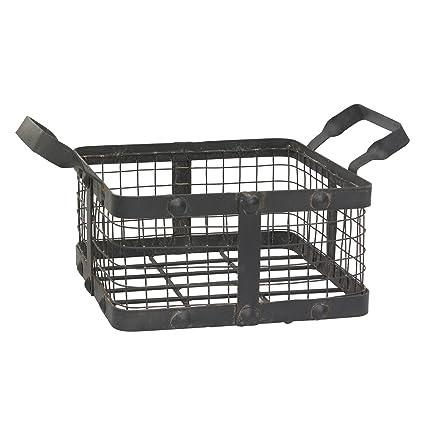Square Wire Basket | Amazon Com Stonebriar Small Square Worn Black Metal And Wire Basket