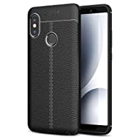 Golden Sand Premium Leather Texture Series Rugged Armor Shockproof TPU Case For Redmi Note5 Pro Mobile 2018, Black