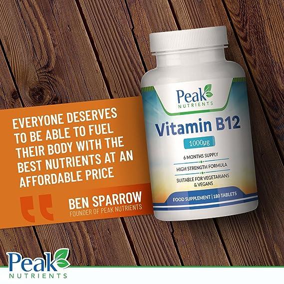 Vitamina B12, 180 Comprimidos de 1000 mcg (Suministro para 6 meses), Favorece el Sistema Inmune y la Formación de Glóbulos Rojos, Aliviando el Cansancio ...