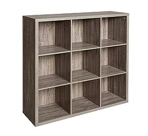ClosetMaid 1327 Decorative 9-Cube Storage Organizer, Weathered Gray