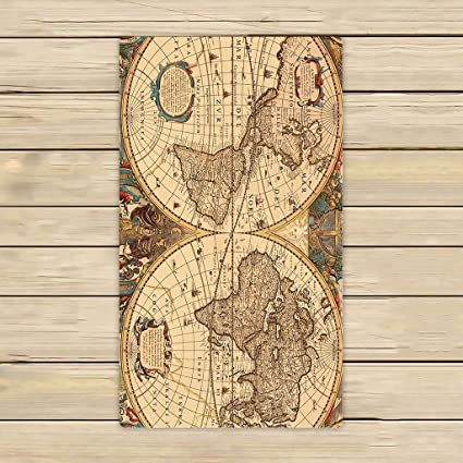 Custom toallas de mapa del mundo, vintage retro Mundial Mapa playa toalla de toallas de