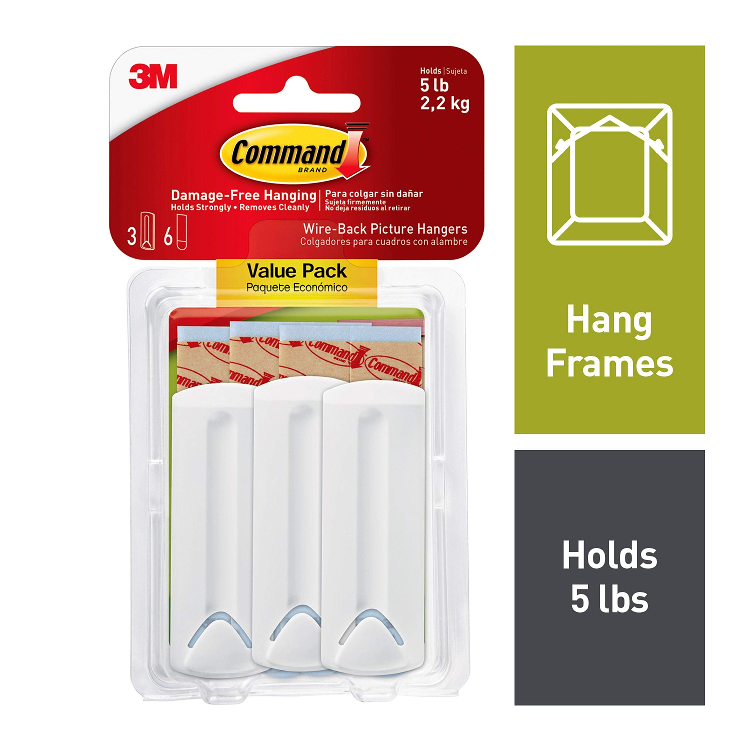 Command 5 lb Capacity Wire-Back Frame Hangers, 4-packages, Decorate Damage-Free (17043-ES)