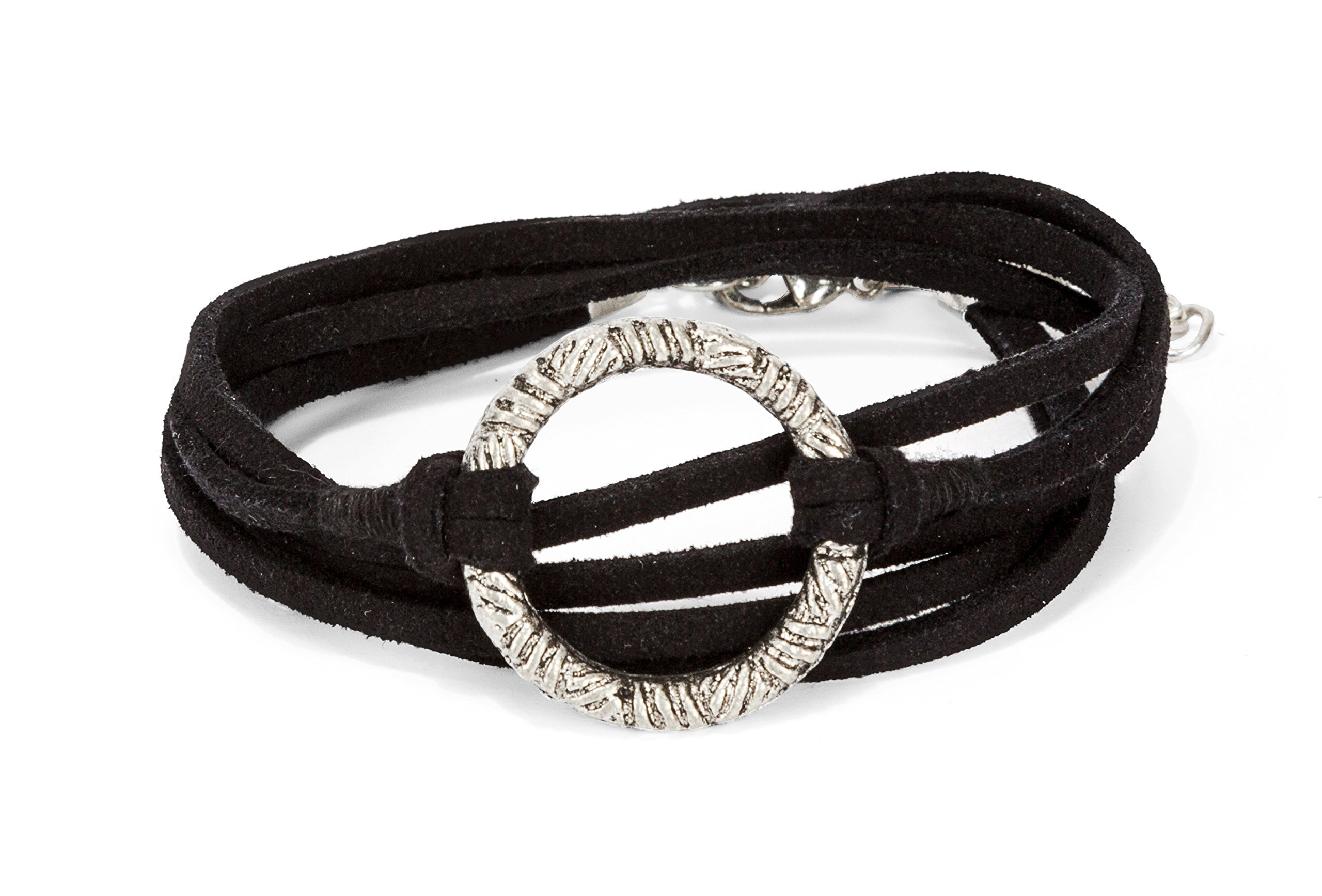 New! Handmade 3 Wrap Silver Circle Black Suede Leather Bracelet with Adjustment Chain | SPUNKYsoul Collection